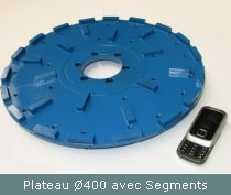 plateau surfacage diametre 400 avec segments