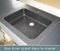 bac évier granit dans la masse