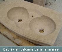 bac évier calcaire dans la masse